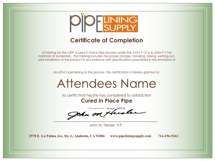 Certification & Recertification Training - Pipe Lining Supply : Pipe ...
