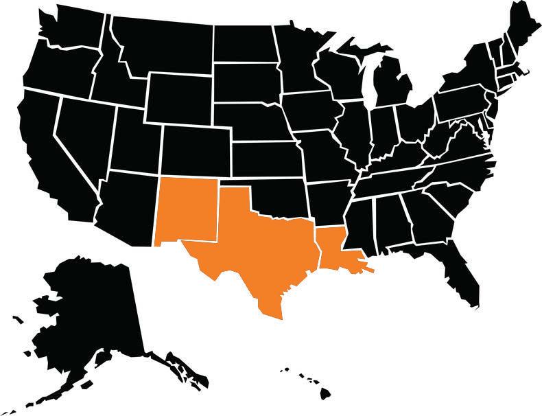 Texas/ South Region includes New Mexico, Texas and Louisiana