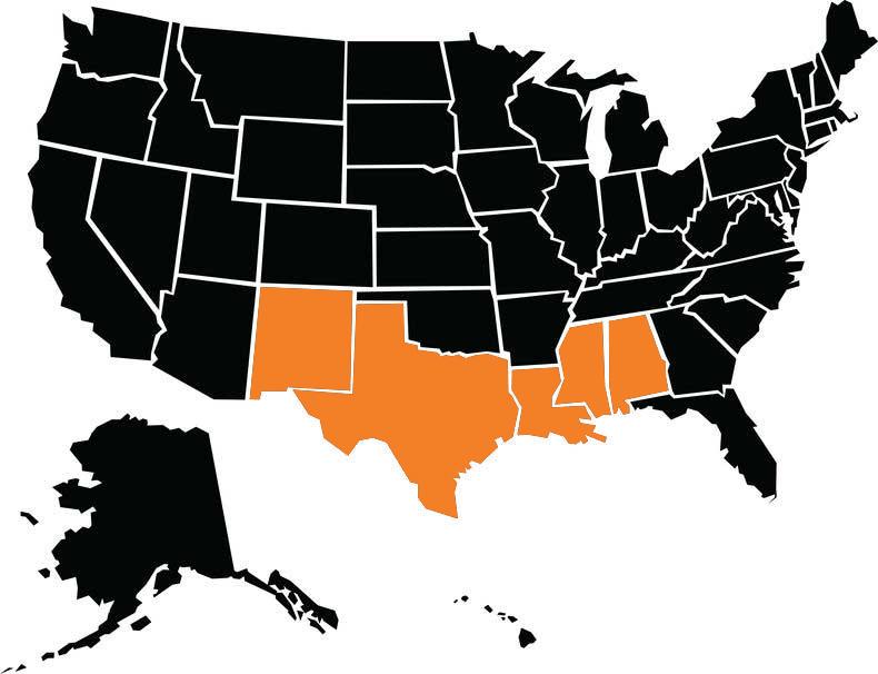 New Mexico, Texas, Mississippi, Alabama, and Louisiana.